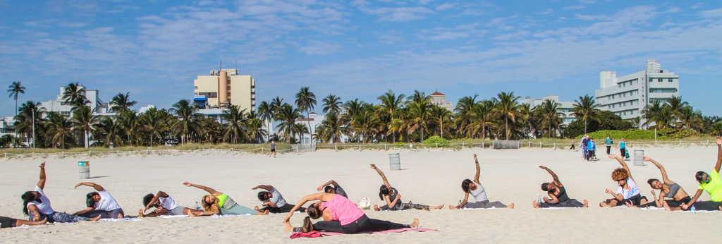 More beach yoga fun - Miami Beach 1.25